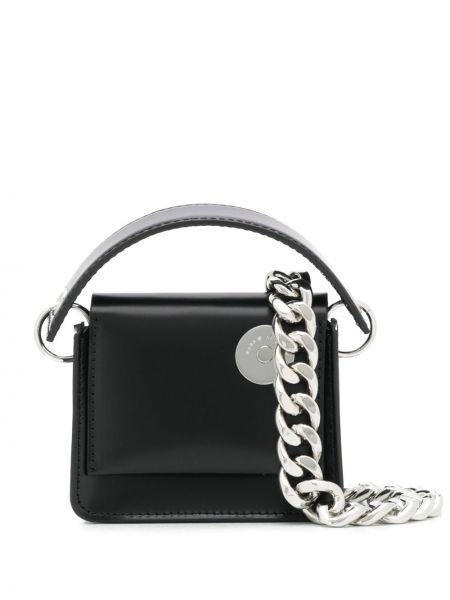 Черная сумка на цепочке металлическая с карманами Kara