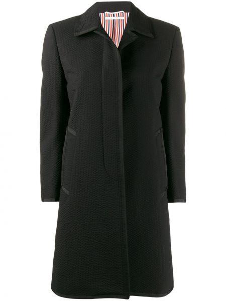 Шерстяное черное пальто классическое с капюшоном Thom Browne