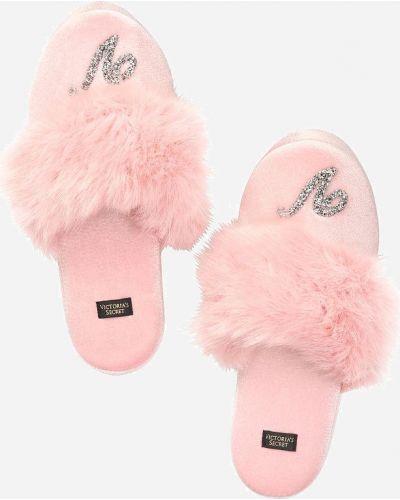 Розовые теплые тапочки с мехом Victoria's Secret