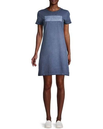 Хлопковое синее платье мини с короткими рукавами Calvin Klein Jeans