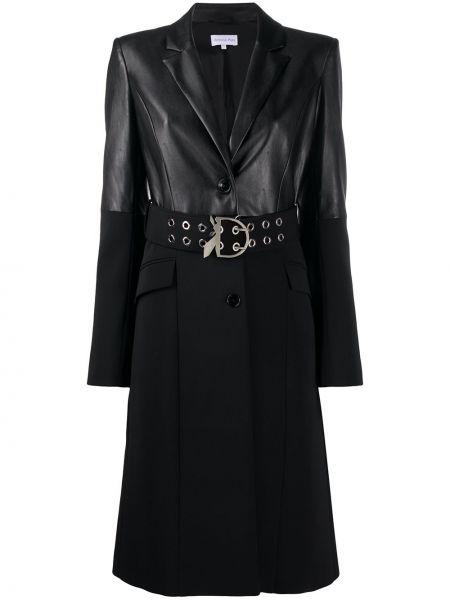 С рукавами черное однобортное кожаное пальто с перфорацией Patrizia Pepe