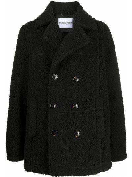 С рукавами черное длинное пальто двубортное с карманами Stand