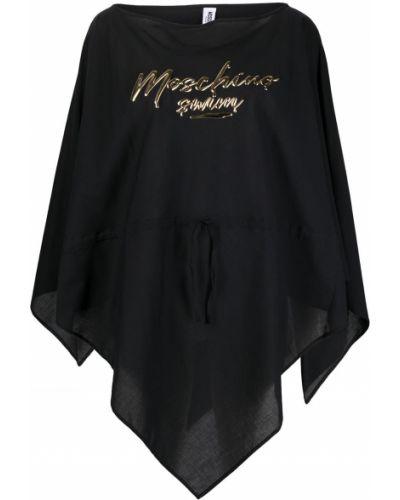 Bawełna z rękawami czarny ponczo Moschino
