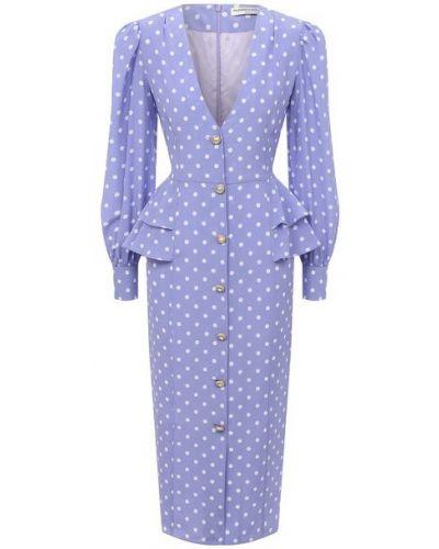 Фиолетовое шелковое платье с подкладкой Alessandra Rich
