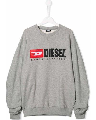 Толстовка с вышивкой серая Diesel Kids