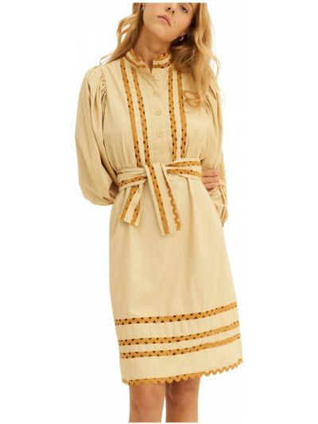 Beżowa sukienka z długimi rękawami Antik Batik