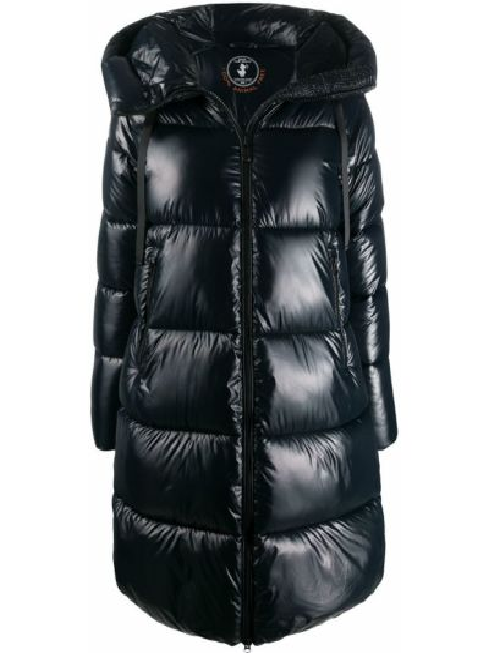 С рукавами нейлоновое черное длинное пальто с карманами Save The Duck