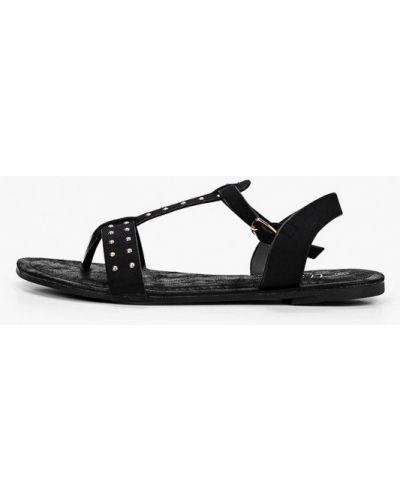 Велюровые черные сандалии Beppi