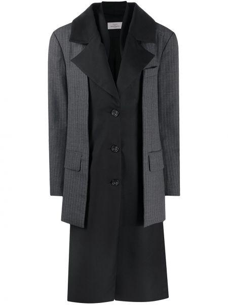 Шерстяное черное длинное пальто на пуговицах Preen By Thornton Bregazzi