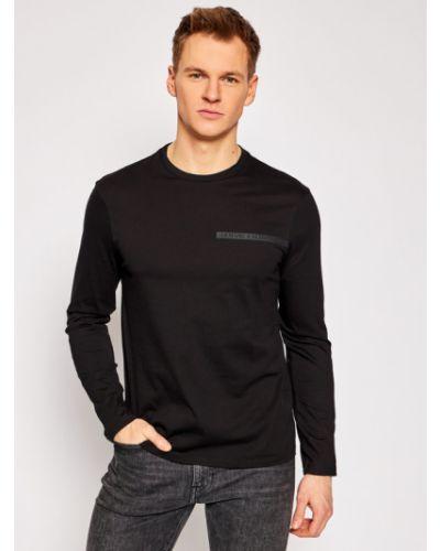 Czarny koszulka z długim rękawem Armani Exchange