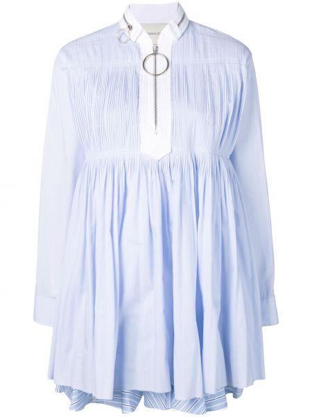 Хлопковое синее платье мини с воротником-стойка Cédric Charlier