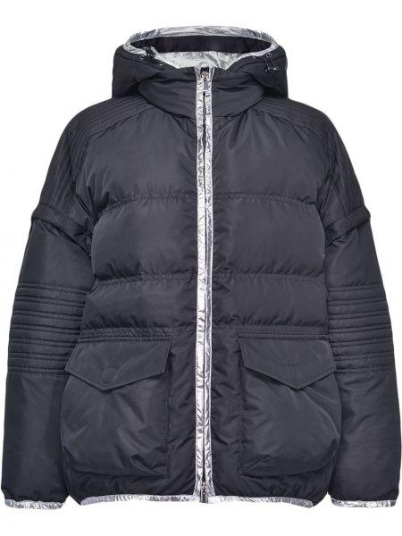 С рукавами классическая черная куртка с капюшоном на молнии Pinko