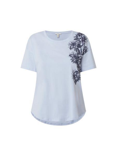 Niebieski t-shirt bawełniany z printem Edc By Esprit