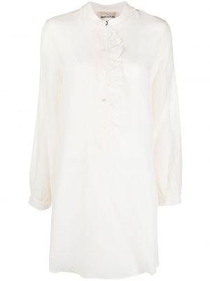 Шелковое белое платье макси с оборками Semicouture