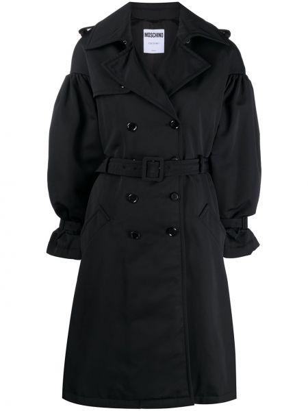 Черное длинное пальто двубортное с карманами Moschino