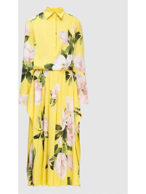 Желтое шелковое платье миди в цветочный принт Valentino