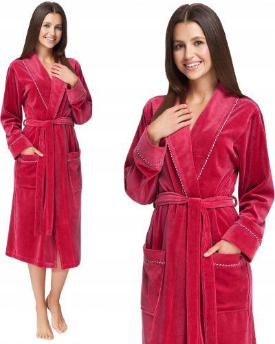 Czerwony szlafrok bawełniany z długimi rękawami Luna