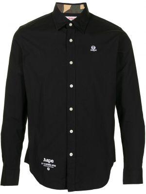 Czarna klasyczna koszula bawełniana z haftem Aape By A Bathing Ape