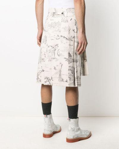 Белая плиссированная юбка с принтом с завышенной талией Thom Browne