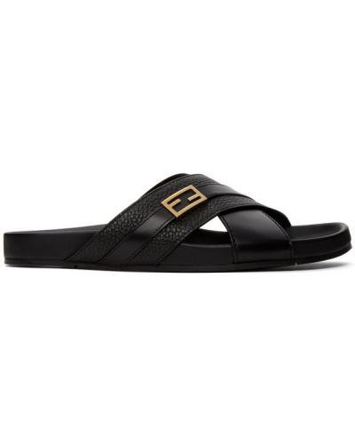 Z paskiem czarny skórzany sandały na paskach Fendi