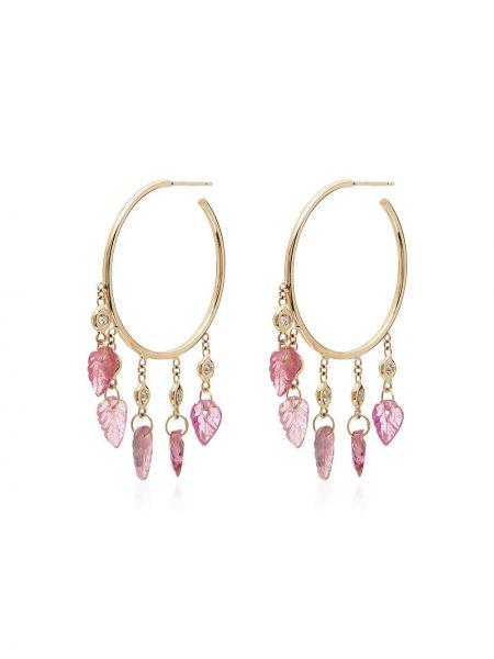 Розовые золотые серьги с подвесками с бриллиантом Jacquie Aiche