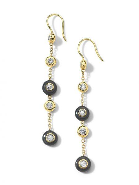 Серьги-гвоздики золотые с бриллиантом круглые Ippolita