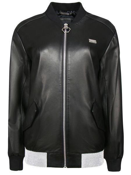 Черная кожаная куртка на молнии со стразами с манжетами Philipp Plein