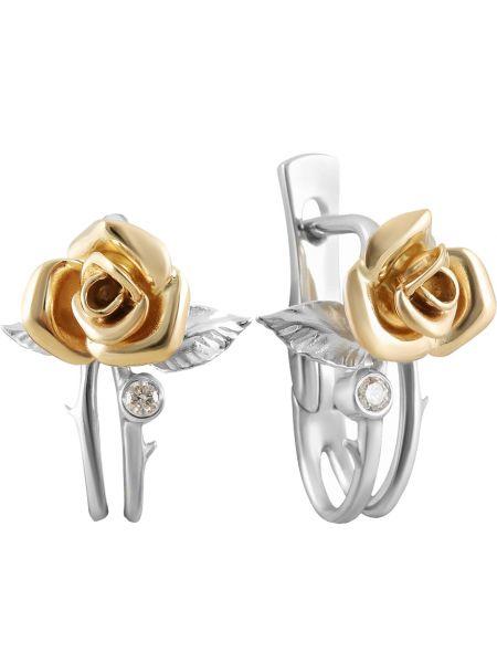 Золотистые желтые золотые серьги с бриллиантом альдзена