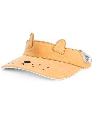 Brązowy kapelusz skórzany z printem Donsje