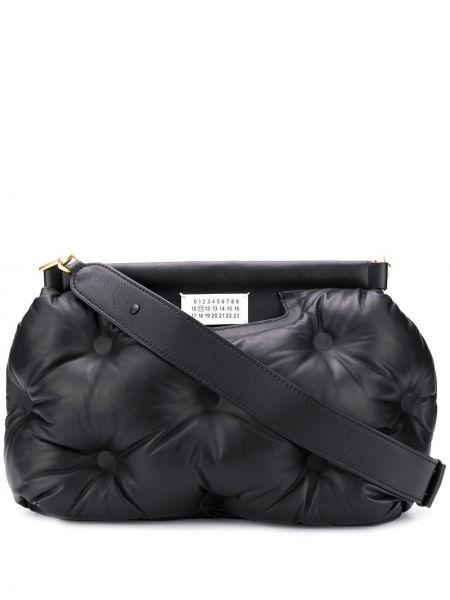 Кожаная черная стеганая кожаная сумка на молнии Maison Margiela