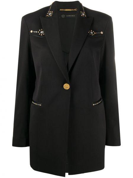 Шерстяной черный пиджак с воротником Versace