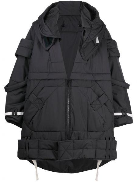 Klasyczny czarny płaszcz z kapturem Undercover