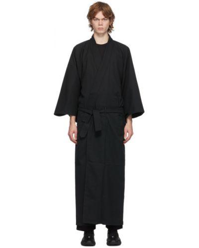 Черное с рукавами кимоно с поясом с воротником Snow Peak