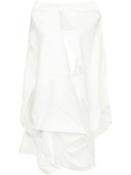 Белое асимметричное платье с вырезом 132 5. Issey Miyake