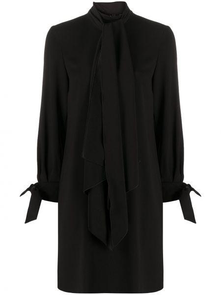 Черное платье с рукавами с воротником на молнии трапеция Paule Ka