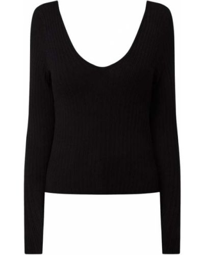 Czarny sweter z dekoltem w serek Only
