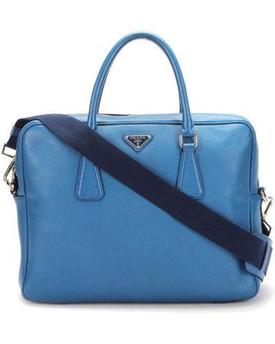 Teczka skórzana - niebieska Prada Vintage