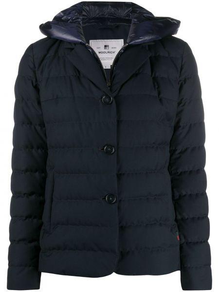 С рукавами синяя длинная куртка с капюшоном Woolrich