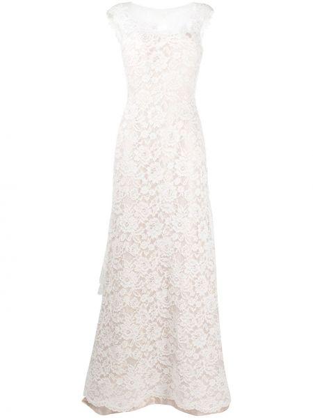 Шелковое кружевное белое платье макси Alberta Ferretti