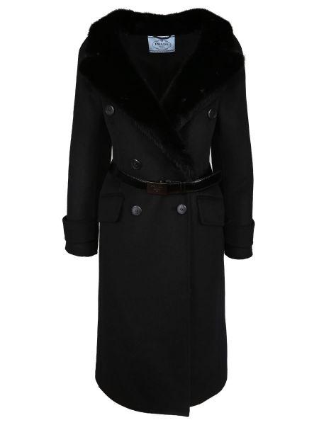 Приталенное шерстяное кожаное пальто с воротником с поясом Prada