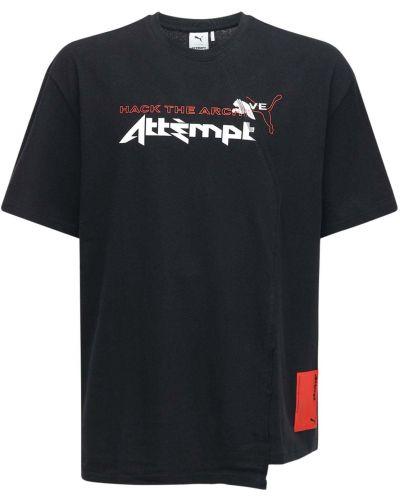 Czarny t-shirt bawełniany z haftem Puma Select