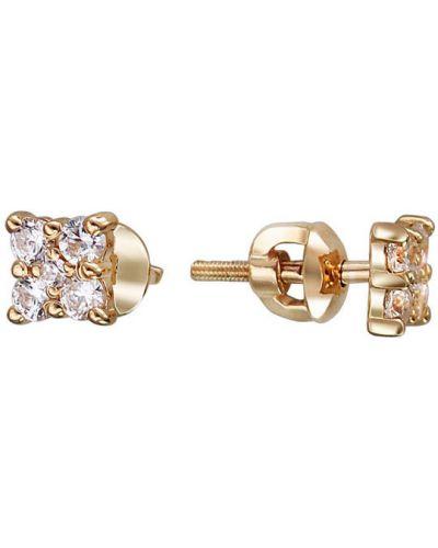 Серьги-гвоздики с фианитом золотые эстет