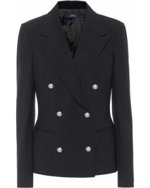 Шерстяной повседневный черный пиджак двубортный Polo Ralph Lauren