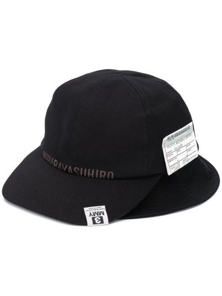 Хлопковая черная шляпа с вышивкой Maison Mihara Yasuhiro