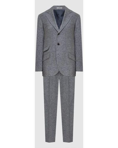 Костюмный серый кашемировый костюм Brunello Cucinelli