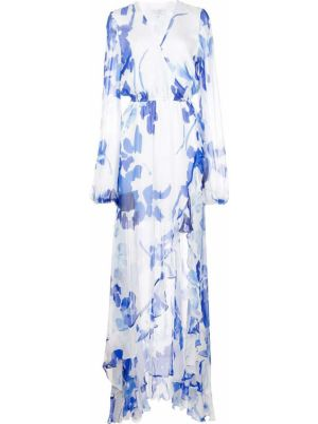 Платье с поясом с запахом с прозрачными рукавами Caroline Constas