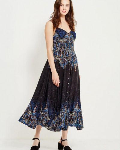 Платье макси платье-сарафан синее Free People