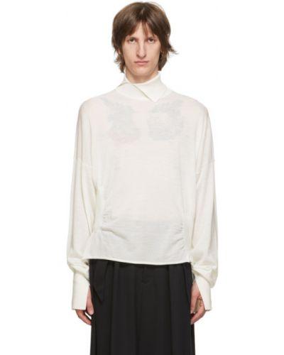 Biały sweter wełniany z długimi rękawami Sulvam