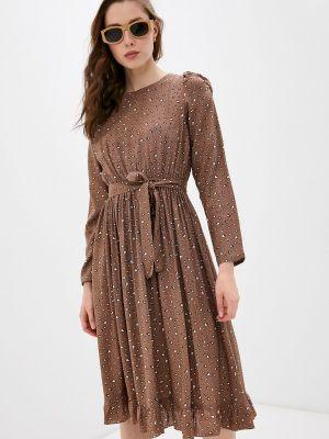 Коричневое прямое платье А-силуэта Imocean