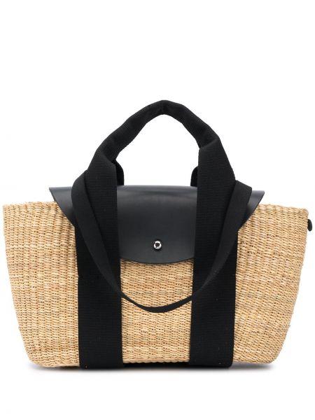 Кожаная черная сумка-тоут круглая с карманами Muun
